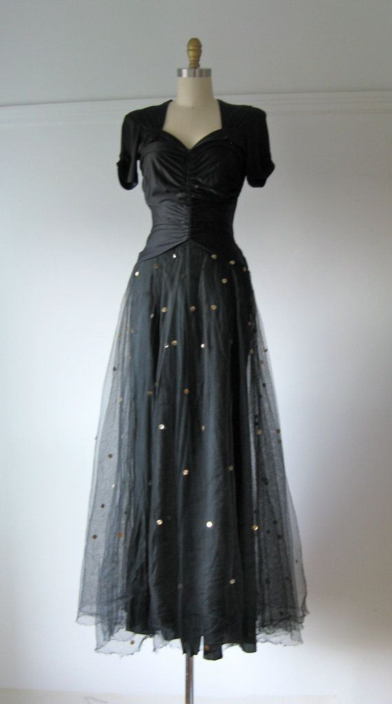 vintage 1940s evening dress / 40s dress / Wish Upon a Star - Polka ...