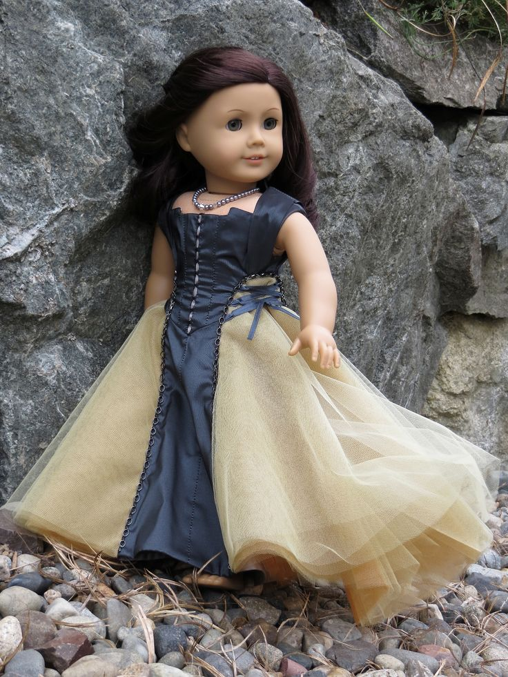 """Beautiful flowing long gown with laces for American Girl 18"""" Doll. . """"Cadewyn"""" is a Melody Valerie Couture original design, and is completely OOAK.  Steampunk. Sewing Inspiration."""