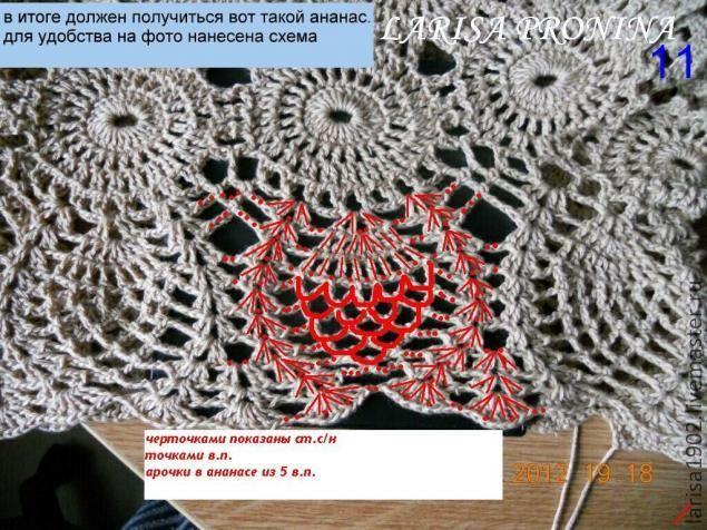 Вязание следует начать с пояса из мотивов. Поис состоит из двух колец, к которым впоследствии привязываются снизу штанины, а сверху резинка.