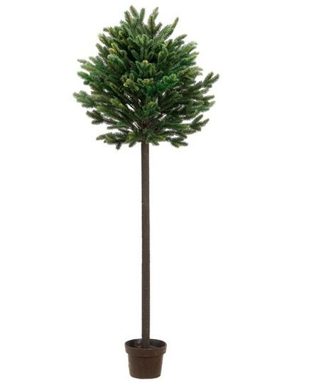 4 Ft. Potted Short Needle Balsam Pine Artificial Christmas Topiary Tree, Unlit