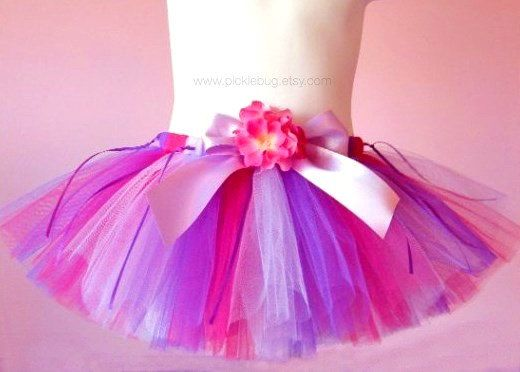 Flower Girl Tutu Pink and Purple Tutu Custom SEWN by PICKLEBUG