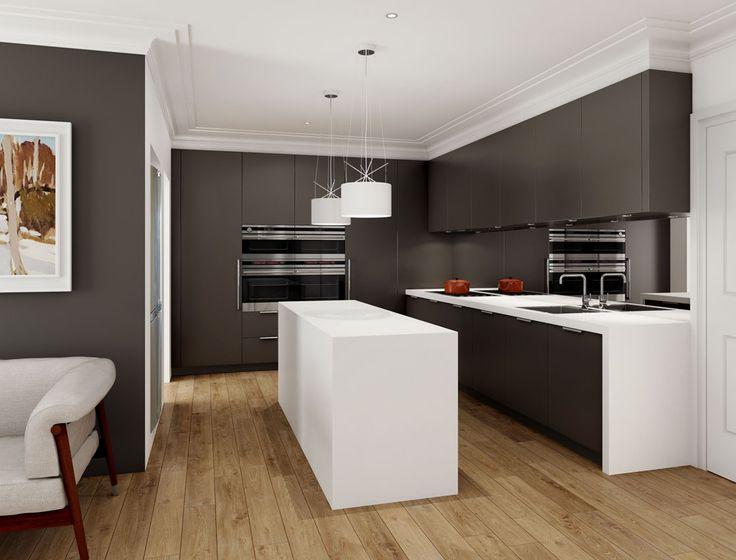 Dark satin polyurethane doors contrast with the Corian Glacier White benchtops in this kitchen illustration