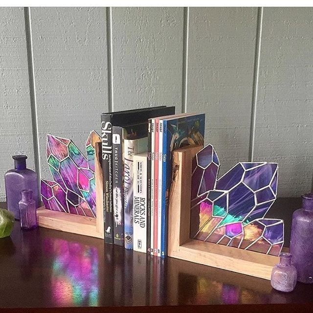 Amazing multi coloured crystal stained glass book ends... something I didn't realize I need in my life
