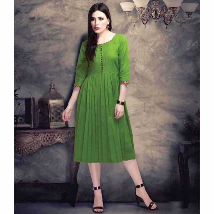 Cotton Green Plain Aline Style Kurti #womensfashion #cottonkurti #plainkurti #alinekurti #cotton #casualkurtis #fashion #style #shopping #aline #onlinekurtis