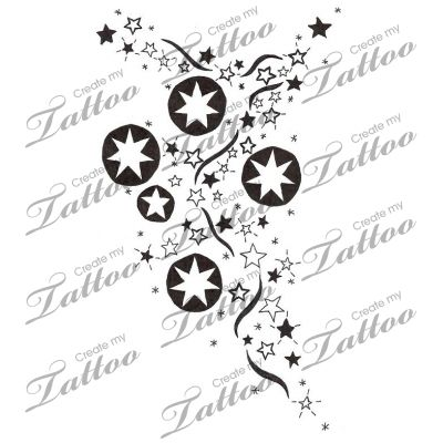 Marketplace Tattoo Southern Cross Stars Galaxy with Black Ribbon #4740 | CreateMyTattoo.com