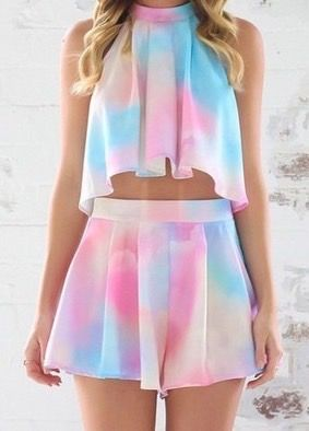 Hot Rainbow Two Piece Dress
