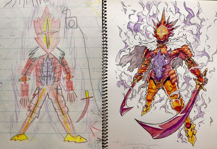 Fire Guardian - a dad turns his child's drawings into Anime  ... °° Awesome !!!