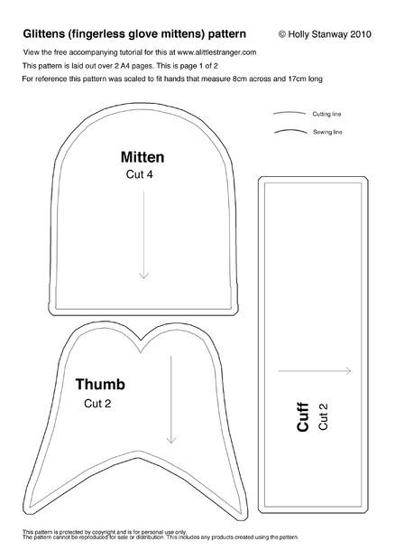 Free Pattern (and directions) For Easy DIY Gloves/Mittens (Glittens) Pattern / Instructables~ These can also be made w/ a sewing machine ;)