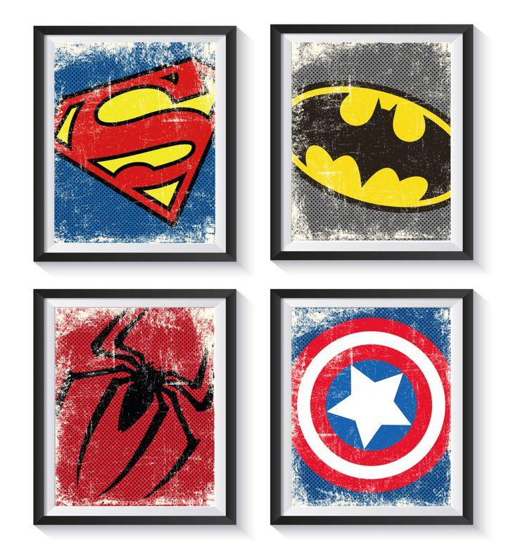 Superhero Logo Symbol Distressed, Vintage Art Print Set - Qty 4 - NURSERY, BEDROOM, PLAYROOM decor, Batman, Avengers, Superman by GraphicallyEverAfter on Etsy https://www.etsy.com/listing/241974703/superhero-logo-symbol-distressed-vintage