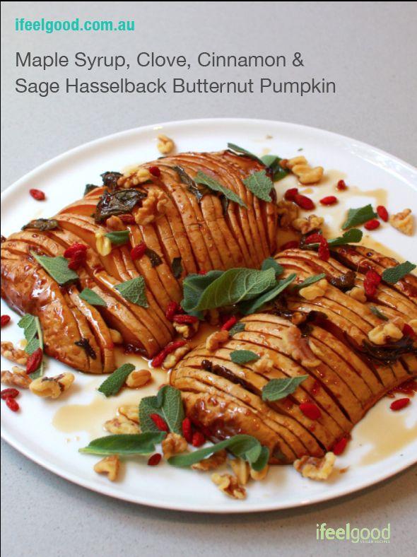Maple Syrup, Clove, Cinnamon & Sage Hasselback Butternut Pumpkin Whole Food Plant Based Recipes