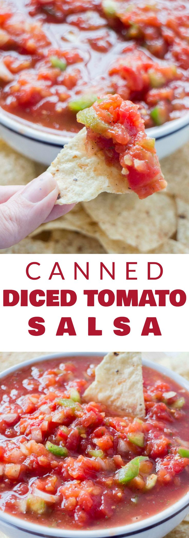 FAST and EASY Salsa made with Canned Diced Tomatoes! Just add green peppers and onions to this simple recipe and you'll have a delicious chunky salsa ready to serve in minutes!  This tastes just like the salsa at your favorite Mexican restaurant!