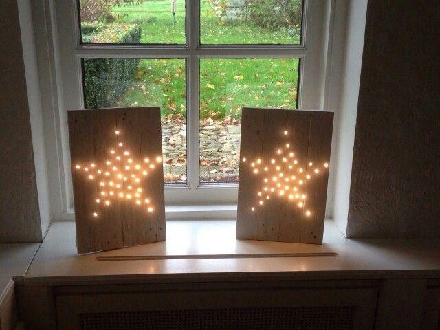 Pallet hout met ster lichtjes