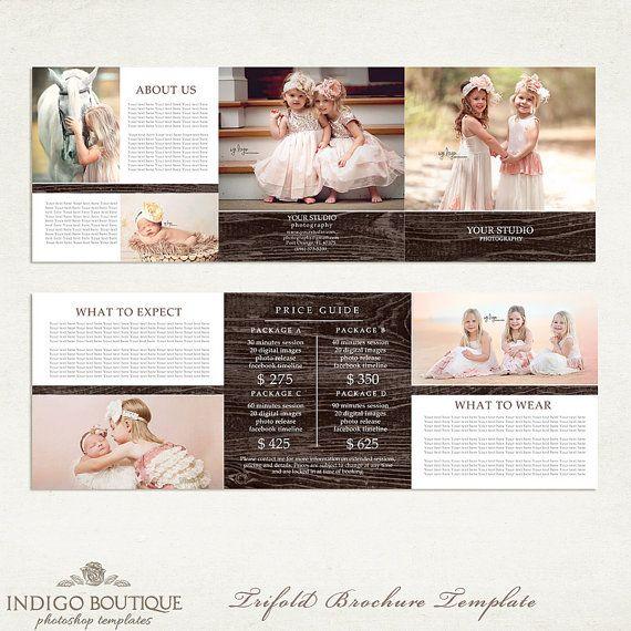 5 x 5 de la lista de precios folleto tríptico fotógrafo - fotografía paquete precios - precio guía Marketing plantilla - 002 - ID204, descarga inmediata