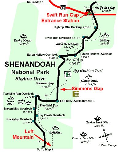 skyline drive map | Shenandoah National Park Map 6 copyright map by Alan Eastep