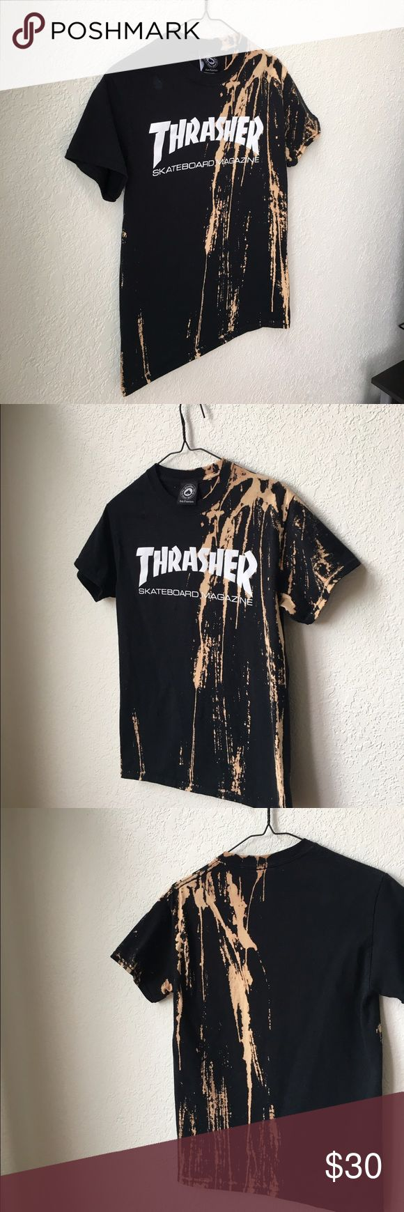 Bleached Thrasher Shirt Hi, I love DIY projects especially those of bleaching and distressing. This is a thrasher shirt I bleached. I have done other shirts as well. This shirt is not for sale, however if you place an order with your size and what kind of shirt you would like for me to bleach, I will custom make it for you. Tops