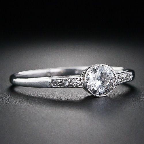 .40 Carat Edwardian Platinum Diamond Engagement Ring - 10-1-5136 - Lang Antiques