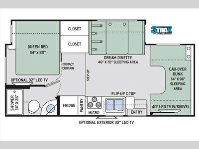 Floorplan - 2017 Thor Motor Coach Four Winds 24F