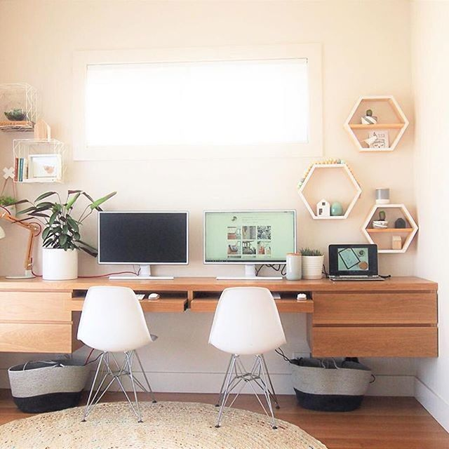 Custom Made Floating Desk With Hexagonal Shelves