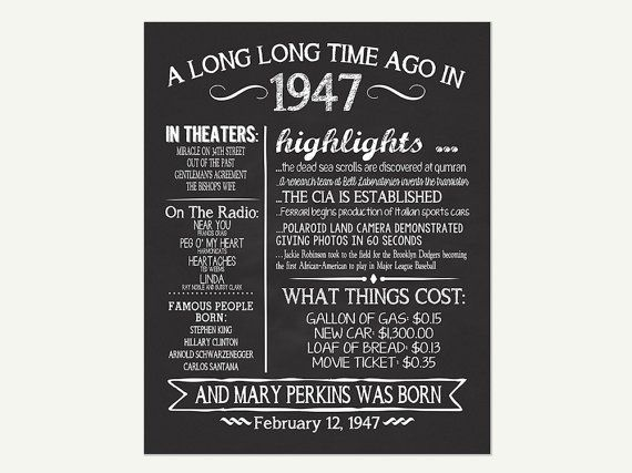 The Year 1947, Personalized 70th Birthday Printable Poster, Printable 70th Birthday Sign, Fun Facts 1947, 70th Birthday Gift, Digital File  THIS ITEM IS FOR A DIGITAL FILE ONLY! NOTHING WILL BE SENT IN THE MAIL!  IF YOU NEED A YEAR OTHER THAN THE ONE LISTED PURCHASE THIS POSTER OR MESSAGE ME: https://www.etsy.com/listing/273573280/adult-birthday-sign-all-about-the-year?ref=listings_manager_grid  You will love having this personalized chalkboard birthday poster to display at your birthday…