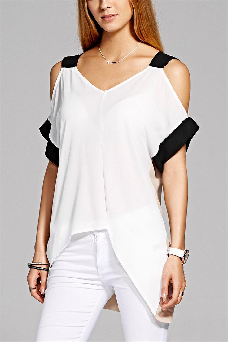 $11.57 Stylish Short Sleeve V-Neck Asymmetric Women's Blouse