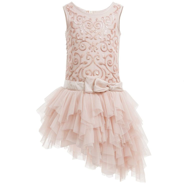 Kate Mack & Biscotti Champagne Pink Dress with Sequins & Tulle at Childrensalon.com