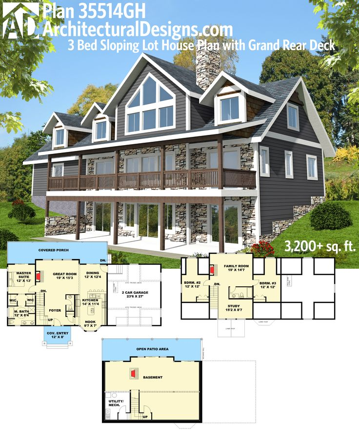 Plan 35514gh 3 bed sloping lot house plan with grand rear Hillside house plans for sloping lots