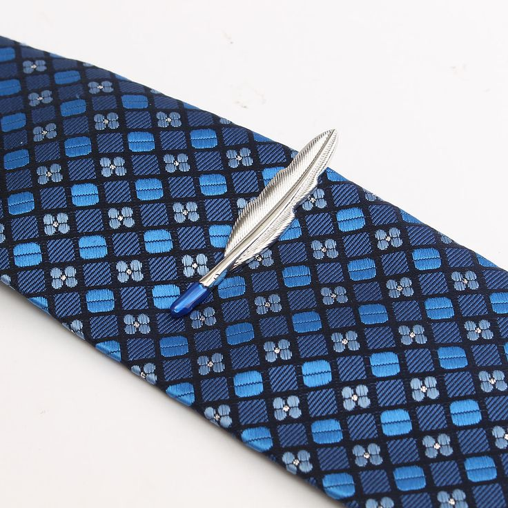 Men Boys Silver Feather Shape Tie Clip Stainless Steel Plain Clasp Bars Pins Clips Suit Accessories at Banggood