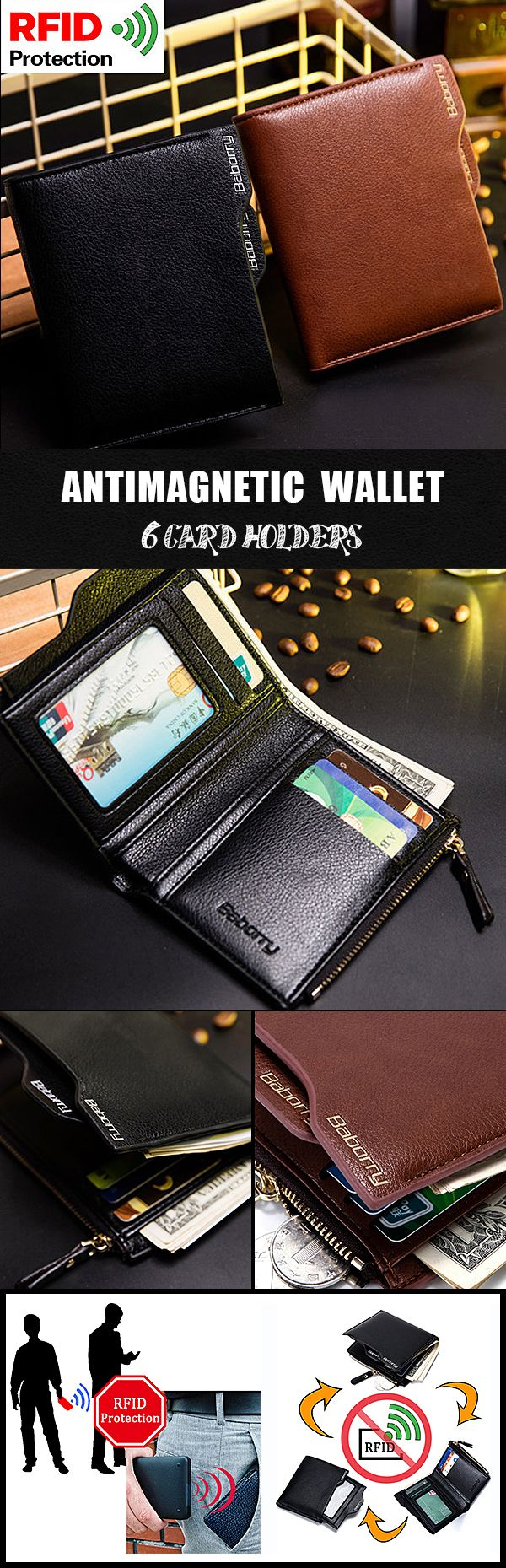 [$ 8.38] [2 / US$14.00]   RFID Antimagnetic 6 Card Holders Wallet Business PU Leather Coin Bag For Men