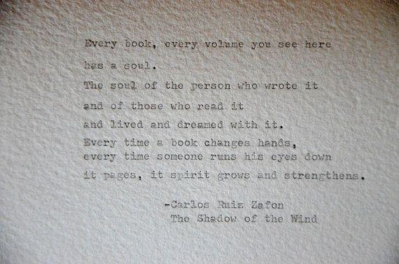 Carlos Ruiz Zafon, book quote, handmade paper, Handtyped on typewriter,