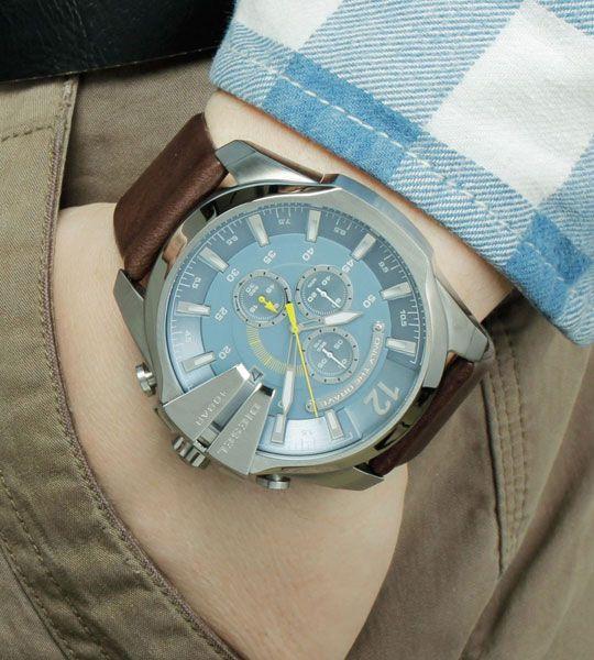 Diesel mens blue dial leather analog Chronograph quartz watches DZ4281 #Diesel #Watches #menswear #Analog #Quartz #wristwatch