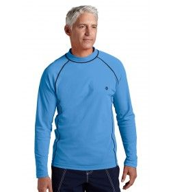 Coolibar - Men's Long  Sleeve Swim Shirts - Surf Blue