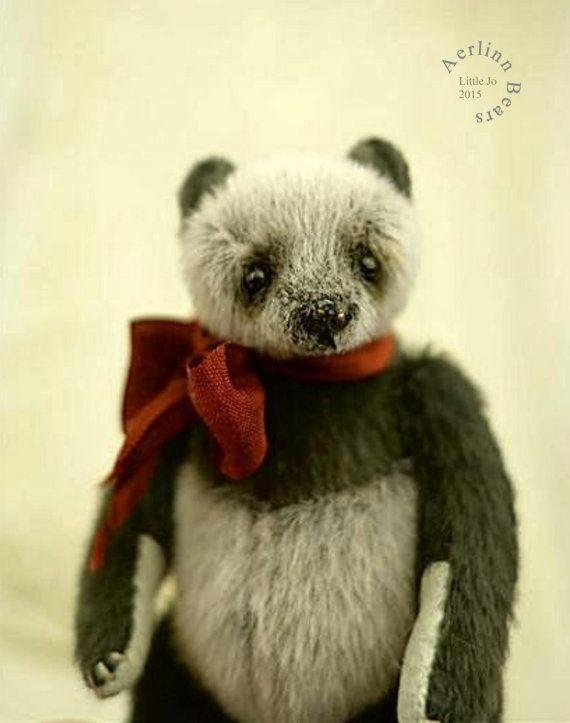 Little Jo Mini Miniature Artist Panda Teddy Bear by aerlinnbears