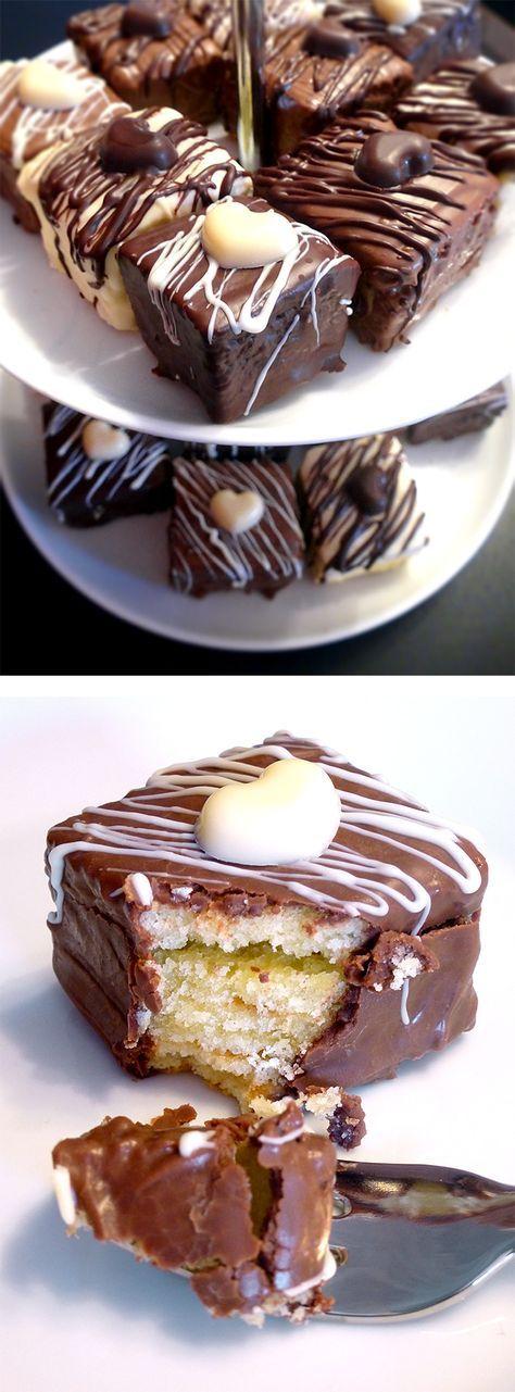 Baumkuchen Petit-Four mit Schokolade überzogen. Einfach herzustellen und so lec…