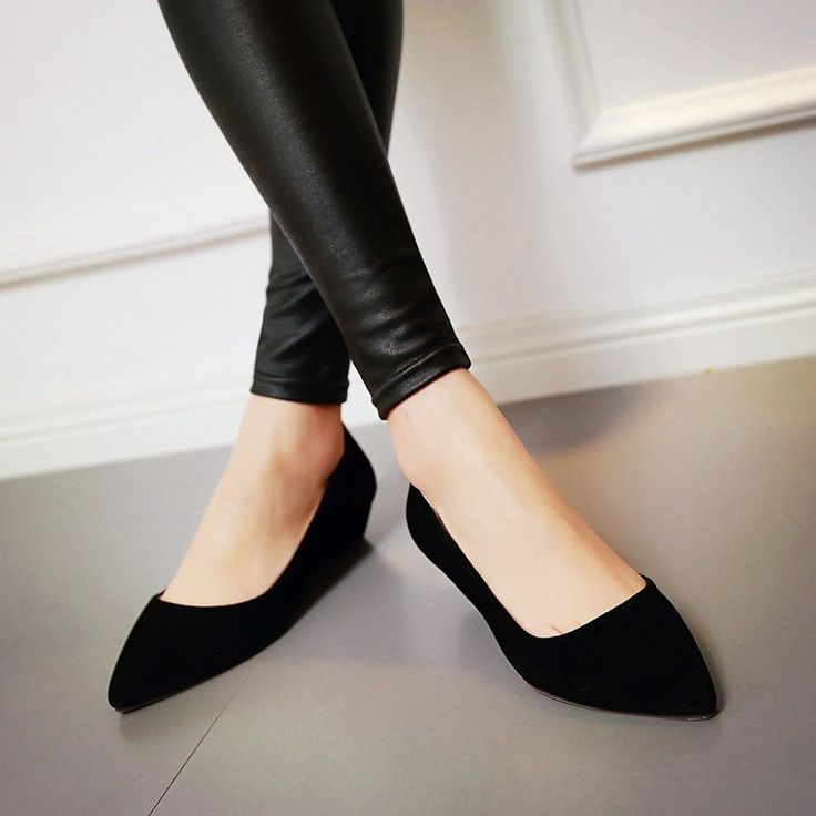 Faux Suede Pointed Toe Wedges Heels Women 1641