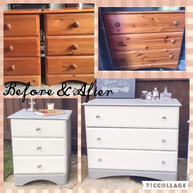 Pine Bedside Tables U0026 Chest Of Drawers Painted In Annie Sloan Old White U0026  Paris Grey
