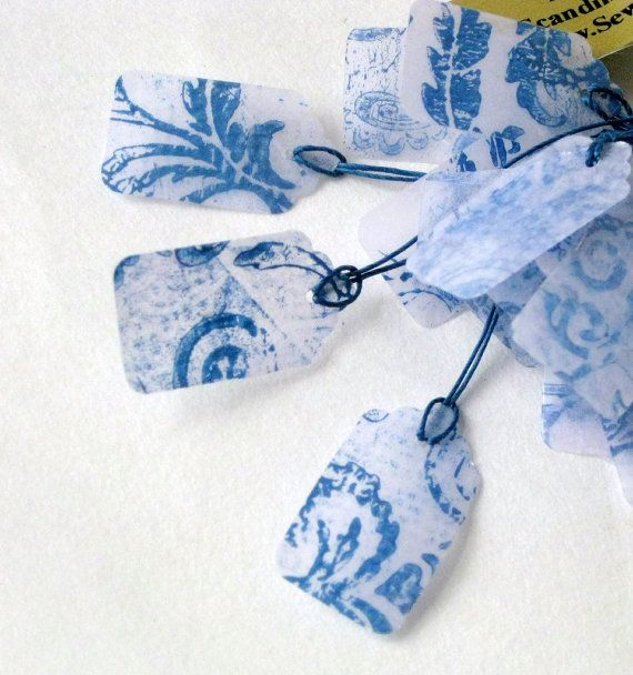 Posh price tags labels printed laminated blue white by SewDanish
