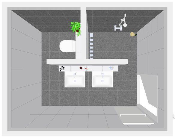 Idee voor inrichting badkamer. indeling badkamer met inloopdouche. zou toilet en douche wel omkeren van plaats.