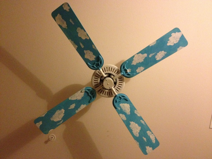 Boring white ceiling fan to fun in less than 2 hours! 1. Disassemble the blades. 2. Paint the blades with sky blue acrylic paint. 3. Wait for paint to dry (about 45 minutes). 4. Use a small brush to paint fluffy clouds of different shapes and sizes. 5. Spray with acrylic paint sealer in matte or gloss. 6. Wait 1 hour for sealer to dry. 7. Reassemble and enjoy!