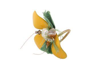 Handmade open ring, gold plated bronze flower 30x50mm with yellow enamel, fresh water pearls and Swarovski crystals @ http://www.theodorajewellery.com/jewel/en/2061/ Price 25€   Χειροποίητο κόσμημα,ανοιγόμενο δαχτυλίδι με λουλούδι από επιχρυσωμένο μπρούντζο με κίτρινο σμάλτο 30x50mm. Το λουλούδι διακοσμούν μαργαριτάρια και κρύσταλλα Swarovski @ http://www.theodorajewellery.com/jewel/gr/2061/ Τιμή 25€