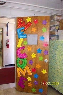 Welcome Back To School Classroom Door How about covering the letters in fabric to coordinate with the bulletin boards?