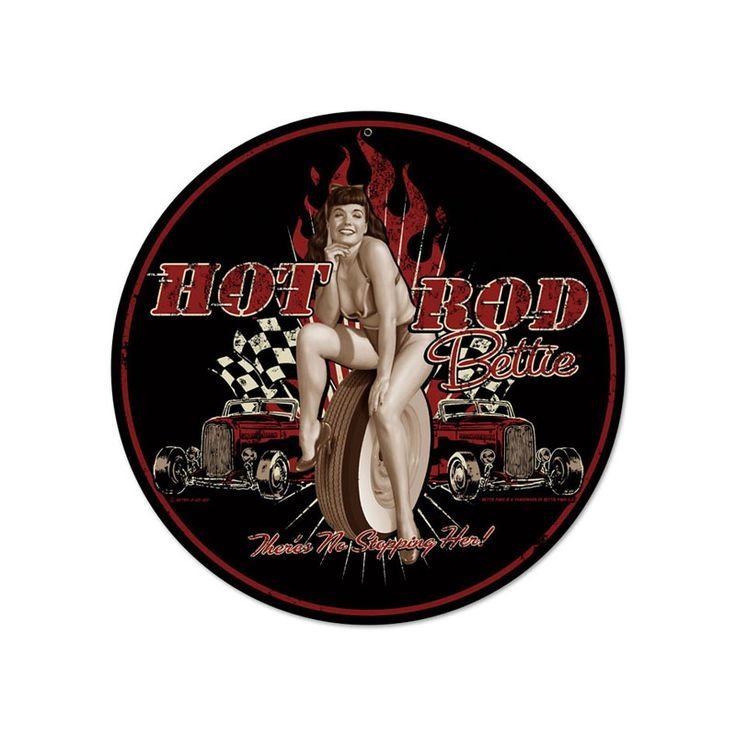 From the Retro A Go Go licensed collection, this Hot Rod Betty round metal sign measures 14 inches by 14 inches and weighs in at 2 lb(s). We hand make all of our round metal signs in the USA using heavy gauge american steel and a process known as sublimation, where the image is baked into a powde...
