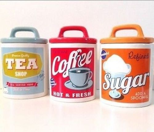 I wish I could find this 3 x Classic 60's Retro Style Ceramic Tea Coffee Sugar Canisters Storage Jar Set