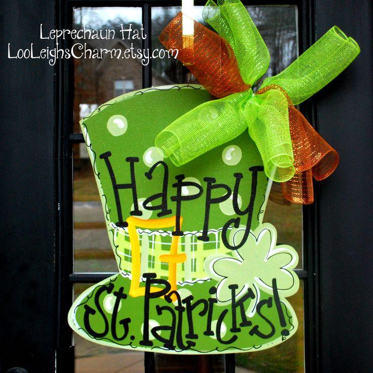 St Patricks Day Door Hanger, St Patricks Day Decor, Door Decoration, Leprechaun Hat Door Hanger. $45.00, via Etsy.