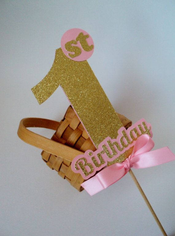 Glitter Number Cake Topper, Pink and Gold Party, Birthday Decoration, Girl Party Décor, Cake Smash.