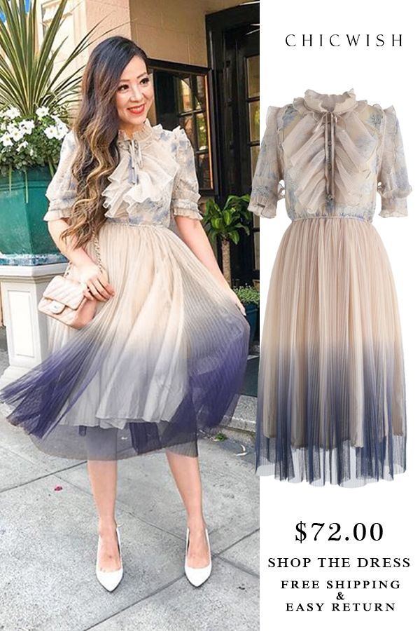 a9e3f4847e41 Free Shipping & Easy Return. Up to 30% Off. We Know It All Gradient Pleated  Mesh Tulle Dress featured by shallwesasa