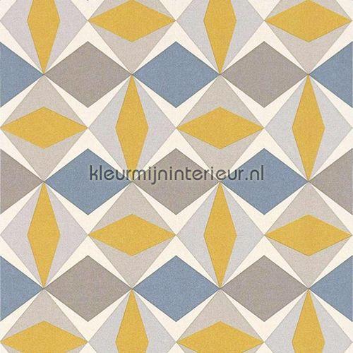 Zweedse ruiten geel blauw behang 51144002, Scandinavia van Noordwand