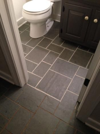 Making Old Discolored Grout Look Like New Grey Tile