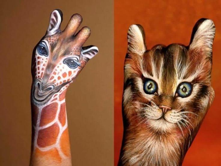 Awesome Body Art Animals: Giraffe/ Cat: Animals, Hands Bodypainting, Body Painting, Paint Art, Body Art