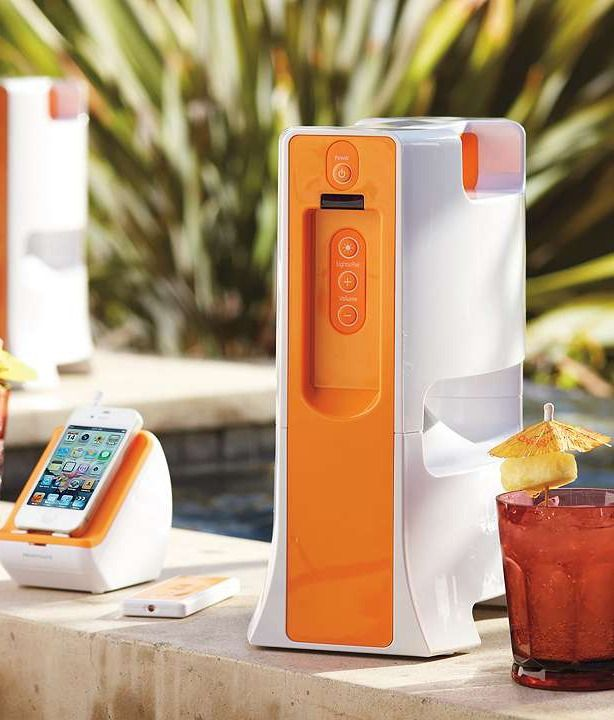 Our sleek, weather-resistant, and splash-proof Wireless Outdoor Tower Speaker lets you stream your favorite digital music poolside from up to 150 feet away.