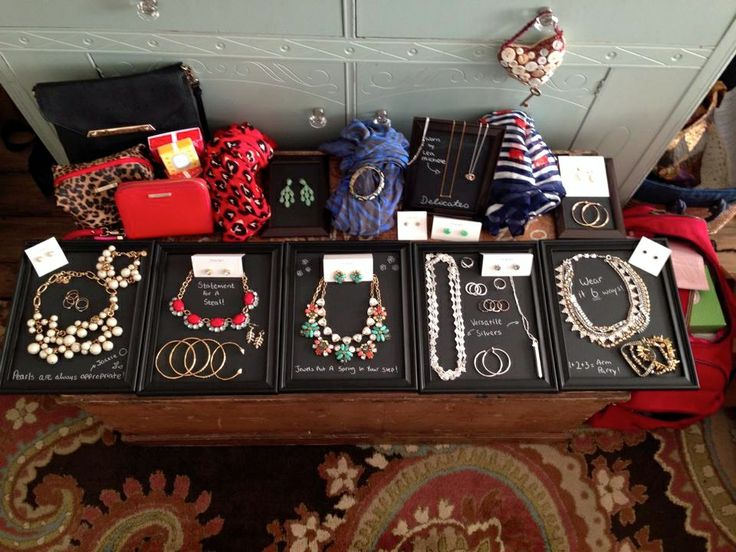 """Easy to make Stella & Dot display """"trays"""" by stylist Jessica Gun!  She used dollar store frames with the glass painted with chalkboard paint!  Genius!"""